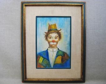 Vintage Clown Portrait Painting, Framed Original Fine Art