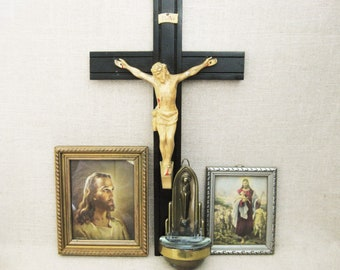 Vintage Crucifix, Holy Water Wall Pocket, Religious Wall Decor Collection, Instant Alter Decor