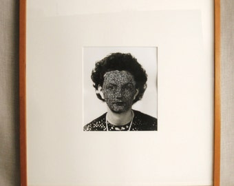 Vintage Female Portrait Photography, Kelly McKaig, Black and White, Altered Photos, Sewn, Silver Print, Chicago Artist