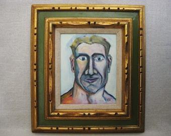 Original Male Portrait Painting, Framed Original Fine Art Wall Decor
