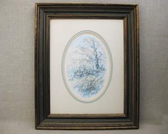 Vintage Landscape Watercolor Painting, Richard K Collopy, Nature Art, Framed Original Fine Art