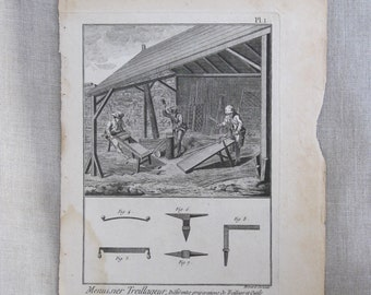 Vintage Bookplate Engraving, Book Plate, Bernard Direxit, 1700s, Tools and Instruments, 18th Century