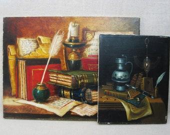 Vintage Still Life Painting, Original Fine Art, Unframed, Rustic Wall Decor