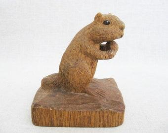 Vintage Squirrel Carving, Folk Art Animal Sculpture, Rustic Cabin Decor