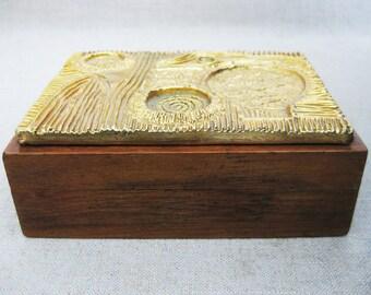 Vintage Wooden Box with Brutalist Metal Tile on Lid, Mid-Century Decor