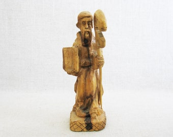 Male Portrait Carving, Rod of Asclepius, Religious Folk Art, Hand Carved Sculpture