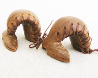 Vintage Miniature Boots, Wooden Shoe, Folk Art Carving, Boot Sculpture, Pair, Primitive Rustic Decor