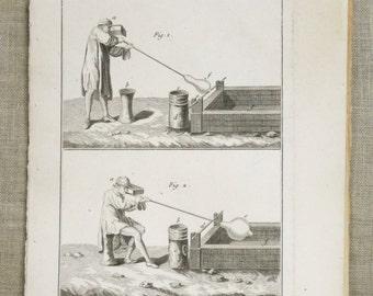 Vintage Engraving, Bookplate, Bernard Direxit, Glass Blowing, 18th Century, Original