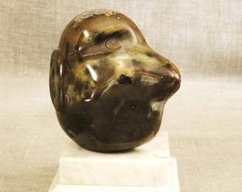 Vintage Male Portrait Bust Sculpture, Precious Stone, Natural Geode, Original Fine Art, Sculpture