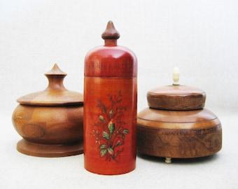 Vintage Round Wooden Box Collection, Storage and Organization