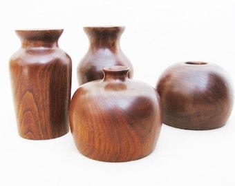 Vintage Turned Wood Vase, Natural Wood Artisan Vessel, Dean Bruckner