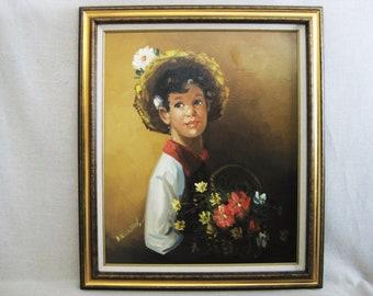 Vintage Male Portrait Painting, Framed Original Fine Art