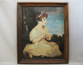 Vintage Female Portrait Paint By Number, Young Girl, Framed