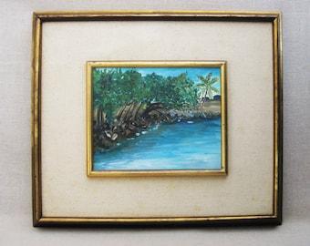 Vintage Landscape Painting, Framed Original Fine Art, Rustic Cabin Decor