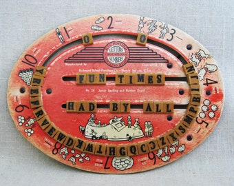 Vintage Spelling Board, Educational Games, Learning Toys