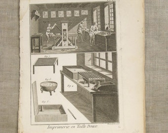 Antique Bookplate, Tools Engraving, Book Plate, Bernard Direxit, 1700s, 18th Century, Vannier, Outils