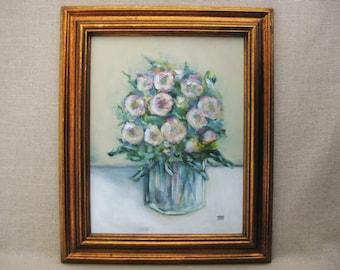 Original Flower Painting, Floral Still Life, Framed Original Fine Art