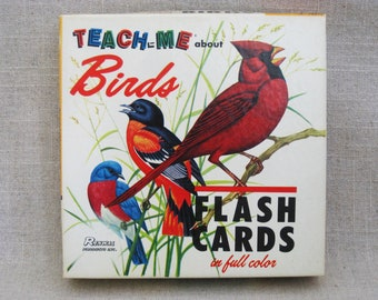 Vintage Bird Flash Cards, Teaching and Educational Toys