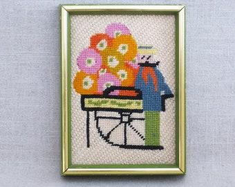 Vintage Male Portrait Needlepoint, Framed Flower Embroidery