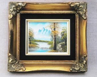 Vintage Landscape Painting, Mountain Scene, Framed Original Fine Art