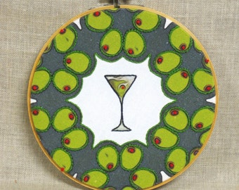 Hoop Art Hand Embroidery, Martini Glass, Olives, Wall Decor, Libation, Cocktails, Bar Decor
