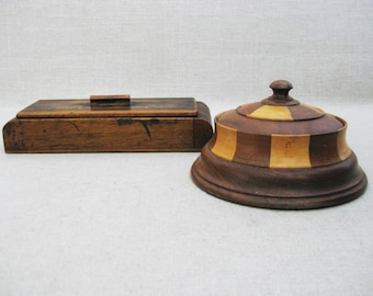 Vintage Wooden Boxes, Round Parquetry, Small Storage and Organization