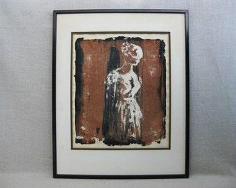 Vintage Female Portrait Fine Art Print, Framed Original Fine Art