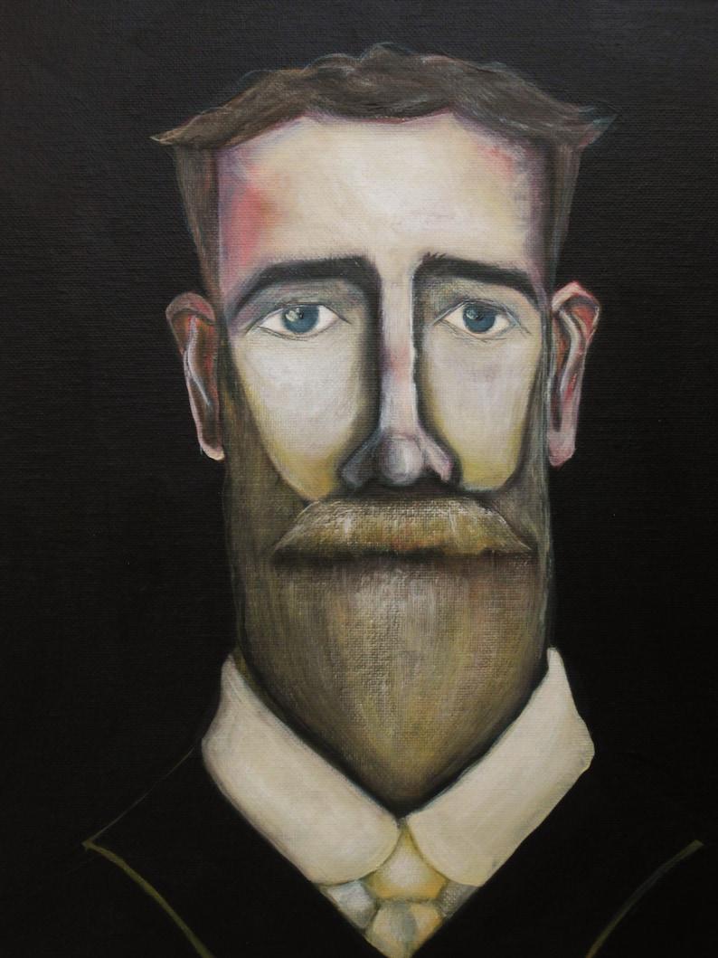 Men with Beards Male Portrait Painting Framed Contemporary Original Fine Art