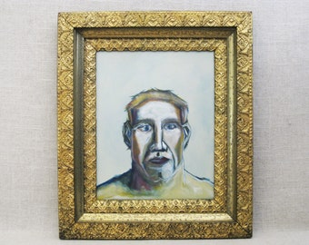 Male Portrait Painting, Original Fine Art on Wooden Panel, Paintings of Men Wall Decor