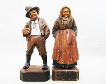 Vintage Portrait Carvings, Male and Female, European Folk Art, Rustic Cabin Decor