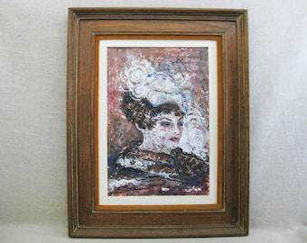Vintage Female Portrait Painting, Framed Original Fine Art