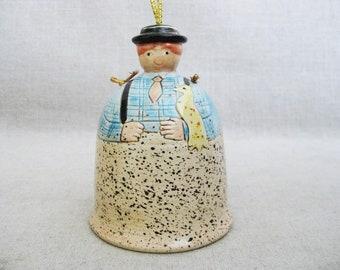 Vintage Ceramic Bell, Male Portrait Figure, Collectibles