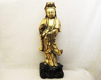 Vintage Guan Yin Statue, 24 Inch, Ceramic Kwan Yin Religious Figure