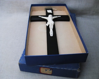 Vintage Wooden Crucifx, Cross in Original Box, Glow in the Dark, Religious Wall Decor