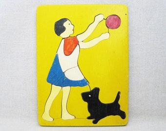 Vintage Female Basket Ball Jigsaw Puzzle, Wooden Childrens Toys, Judy Toys, Folk Art Wall Decor