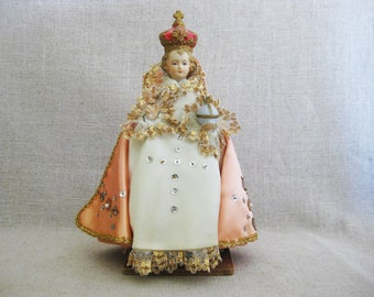 Vintage Religious Statue, Child Of Prague Dressed in Handmade Clothing