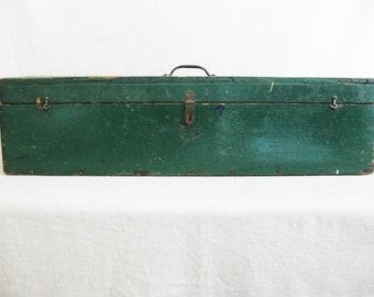 Vintage Tool Box, Large Wooden Storage Box, Folk Art