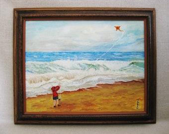 Vintage Female Child Portrait, Beach Painting, Framed Original Fine Art