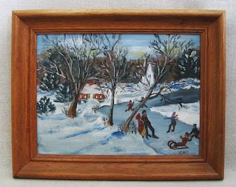 Vintage Winter Landscape Folk Art Painting, Signed V Beach, Framed Original Fine Art
