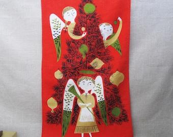 Vintage Tammis Keefe Linen Tea Towel, Christmas Decor, Holiday Kitchen Towel