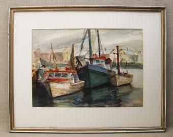 Vintage Boat Painting, Watercolor, Mid-Century Art, Framed Original Fine Art