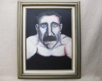 Male Portrait Painting, Framed Original Fine Art, Framed, Mustache