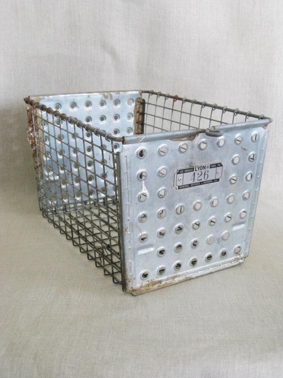 Vintage Metal Wire Basket Gym Locker Office Studio Storage | Etsy