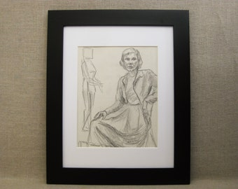 Vintage Female Portrait Drawing, Pencil, Framed Original Fine Art, Hilda Wilson