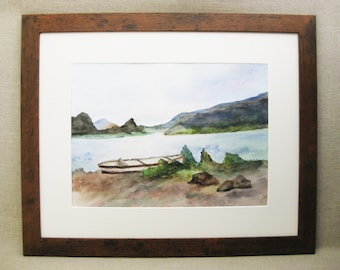 Vintage Landscape Painting, Lakeside, Canoe, Rustic Cabin Decor
