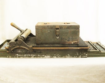 Vintage Letter Set Printing Press with Large Collection of Print Blocks, P K Neuses, Industrial Chic, Art Supply