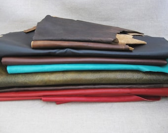 Leather Remnants, Art and Craft Supplies, Leather Scraps, Lot of 9 pieces