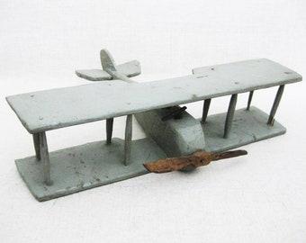 Vintage Bi-Plane, Folk Art Airplane, Primitive Toys, Rustic Cabin Decor