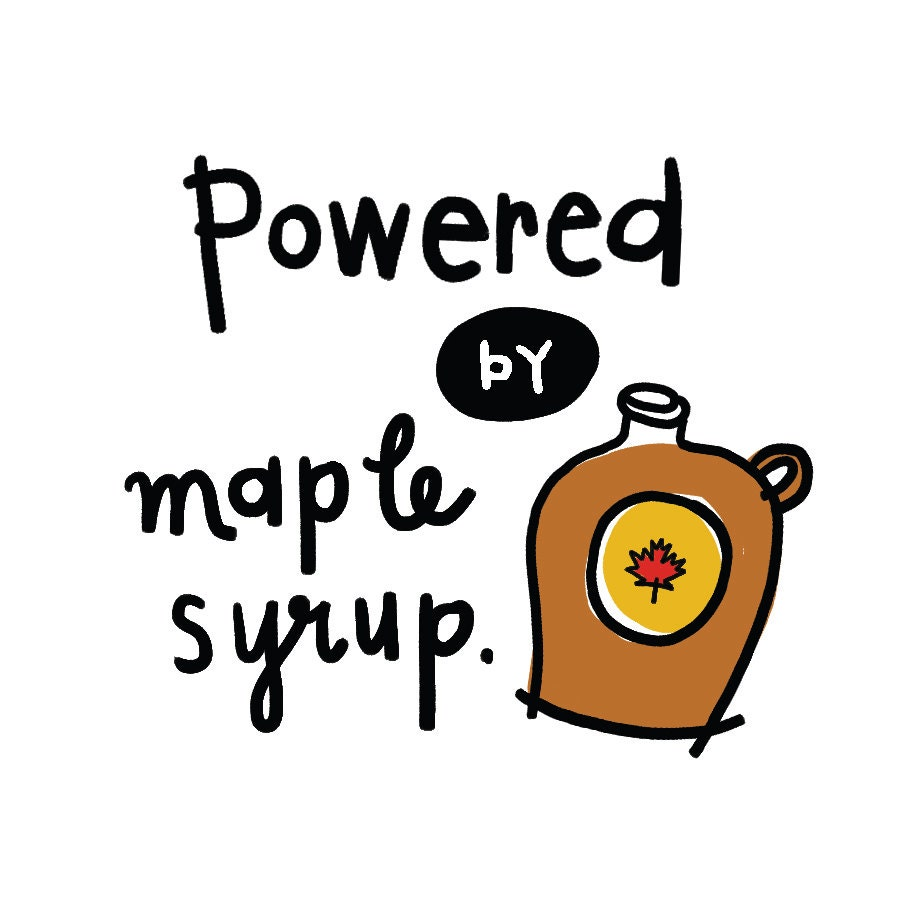 Powered By Maple Syrup Temporary Tattoo SET OF 2 by