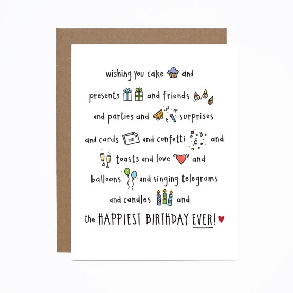 Happiest Birthday Ever Card Funny Birthday Card Cupcake